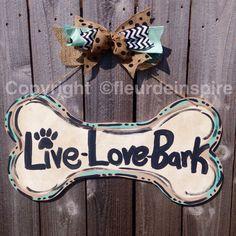 Custom dog bone door hanger-custom by fleurdeinspire on Etsy