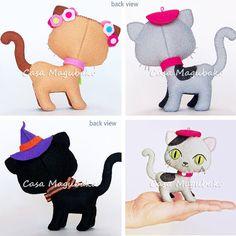 Felt Cat Sewing Pattern Hand Stitched Cat Digital от CasaMagubako