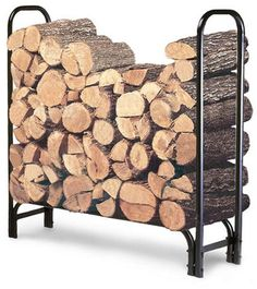 Firewood Holder Rack Storage Outdoor Indoor 4-Foot Tubular Steel Rust Resistant #LANDMANN