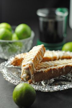 "Key Lime Biscotti with Key Lime Glaze ~ via this blog, ""Juanita's Cocina""."