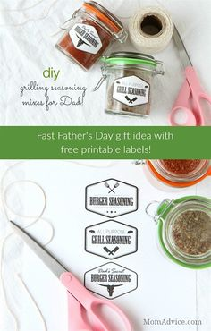 DIY Grilling Seasoning Mixes for Father's Day with printable labels