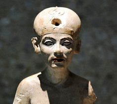 Small statuette of Nefertiti. In Neues Museum in Berlin, Germany.