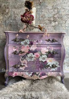 Purple Furniture, Bohemian Furniture, Funky Furniture, Upcycled Furniture, Furniture Makeover, Vintage Furniture, Floral Furniture, Decoupage Furniture, Chalk Paint Furniture