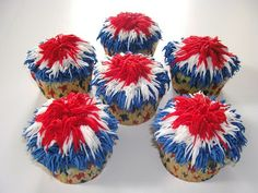 4th of July Fireworks Cupcakes - White cupcakes iced with buttercream icing, using grass tip...frost blue first, then white, then red!