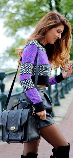 Violet knitted top-sweater and black leather boots and skirt. Latest fall/winter outfits 2015