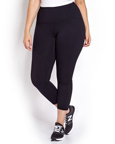 Work up a sweat in style with these leggings from the Nola plus size active wear collection. The wide waistband keeps the leggings in place as the fabric follows your every movement. 27 inch inseam