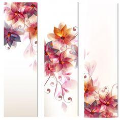 Colección de banners de flores Vector Premium