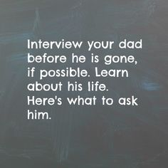 32 Questions To Ask Your Father  https://www.facebook.com/brendonburchardfan/posts/982909135076047:0