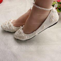 Frauen Geschlossene Zehe Flache Schuhe Flascher Absatz Lackleder Nachahmungen von Perlen Applikationen Brautschuhe