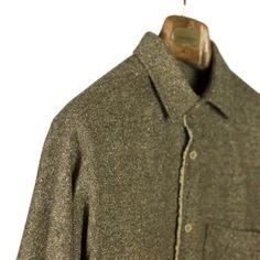 Frank Leder Brown donegal wool & silk raw-edge shirt | No Man Walks Alone