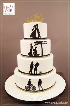 Love Story - Cake by Crazy Cake Fancy Wedding Cakes, Floral Wedding Cakes, Wedding Gifts For Guests, Wedding Cookies, Wedding Cupcakes, Wedding Cake Toppers, Wedding Ideas, Wedding Cales, Silhouette Cake