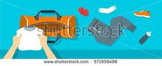 Fitness flat  background. Man puts stuff for gym physical training into sport bag. Top view horizontal banner. Workout clothes and shoes, water bottle. Healthy lifestyle concept. Simple design