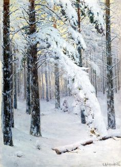 Konstantin Kryzhitsky (Russian)    Forest in Winter, 1906, oil on canvas, private collection.