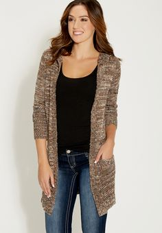 58984 marled knit duster with hood and pockets