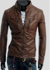 Fashion Stand Collar Slimming Solid Color Long Sleeves PU Leather Jacket For Men Cheap Winter Jackets, Cheap Mens Jackets, Latest Clothes For Men, Discount Womens Clothing, Mens Winter Coat, Outerwear Jackets, Ideias Fashion, Pu Leather, Men Coffee