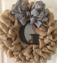 Burlap Wreath - Made this today. Super cute, pretty easy. Saw them for sale in Etsy for $65, spent about $20 to make mine.