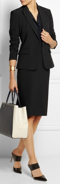 #Theory Stretch crepe pencil skirt & matching jacket
