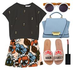 """flowers in your hair"" by cheeky-chappy ❤ liked on Polyvore featuring Paul & Joe Sister, Elizabeth and James, Kate Spade, Maybelline and Floralskirts"