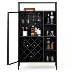 Industrial Chic, Drinks Cabinet, Liquor Cabinet, Black Bar Cabinet, Modern Bar Cabinet, Alcohol Cabinet, Cabinets For Sale, Bar Cabinets, Glass Cabinet Doors