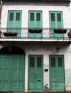 Green Shutters In New Orleans by John Rizzuto