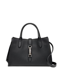 V21TZ Gucci Jackie Soft Leather Top Handle Bag, Black