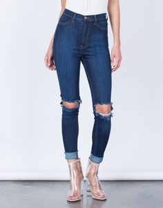 Ripped Knee Stretchy Skinny Jeans - Dark Blue Jeans - High Waisted Jeans – 2020AVE