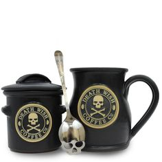 Death Wish Coffee is easily one of my favorites -- full, strong taste and powerfully caffeinated They have a limited edition (1,000 units) set with matte black 16 oz mug, sugar crock, and sugar skull spoon. Hand crafted in the USA by master potters. Nice!