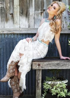 Sherri Hill 32255 - Two Piece Bohemian Lace Crochet with Turquoise Beaded - RissyRoos.com