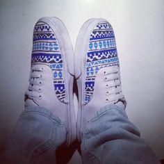 Aztec blue white shoes