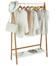 Buy Argos Home Belvoir Clothes Rail with Shelf - Bamboo & White at Argos. Thousands of products for same day delivery or fast store collection. White Bathroom Shelves, Bathroom Shelf Decor, Bedroom Cupboards, Clothes Rail With Shelves, Clothes Hangers, Clothes Storage, Canvas Wardrobe, Buy Bamboo, Bamboo Art