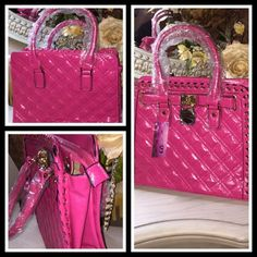 """PATENT LEATHER QUILTED SATCHEL - HOT PINK High quality faux leather with quilted front and back; side stitching through metal grommets, and metal feet to keep bag clean. Inside lining with zippered pockets to hold all your valuables.  Gold medallion latch over zippered top closure. Lightweight, with its own dustbag.  20""""sturdy strap handles, along with a 48"""" extra strap for crossbody wear. Color is HOT PINK. 13W X 4.5D X 10.5 H. luvsmink&more Bags Satchels"""