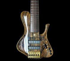 custom headless bass guitar