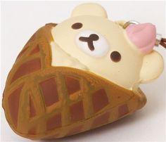 Anime Cell Phone Charms   Colgante blandito para móvil osa blanca Korilakkuma waffle Squishies, Kawaii, Rilakkuma, Piggy Bank, Blandito, Waffles, Hello Kitty, Character, Baby