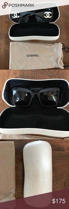 2f5f058ed86b Shop Women s CHANEL Black White size OS Sunglasses at a discounted price at  Poshmark. Description  Very gently used back CHANEL sunglasses.