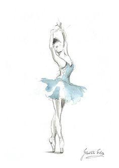 Ballerina-Print blau Tutu Ballerina Ballerina von EwArtStudio