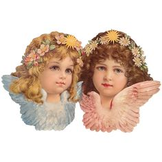 Large Scrap with Two Flower Angels ~ Germany ~ New for 2014