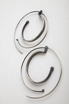 Hammered Spiral Hoops: Monique Rancourt #jewellery #earrings