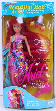 Calypso Beautiful Hair Ariel Little Mermaid Tyco Disney Doll w/ Sebastian ~ Rare