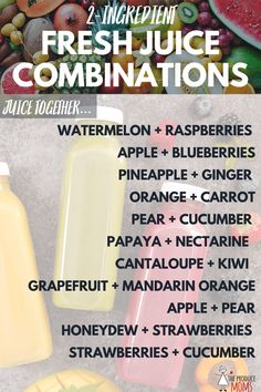 fruit juice is a great way to increase your daily fruit intake. Refresh yourself in the new year with fresh juice combinations. Healthy Juicer Recipes, Fresh Juice Recipes, Juice Cleanse Recipes, Healthy Juices, Fruit Recipes, Healthy Drinks, Detox Drinks, Detox Juices, Blender Recipes