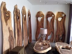 Woods slabs can be made into artistic coffee table or dining table Live Edge Furniture, Wood Furniture, Furniture Ideas, Live Edge Counter, Log Projects, Wood Slab, Decoration, Exotic, Sweet Home