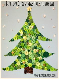 Button Christmas Tree - made on canvas by gluing on buttons - tutorial at http://bustedbutton.com/2013/12/13/button-christmas-tree-tutorial/