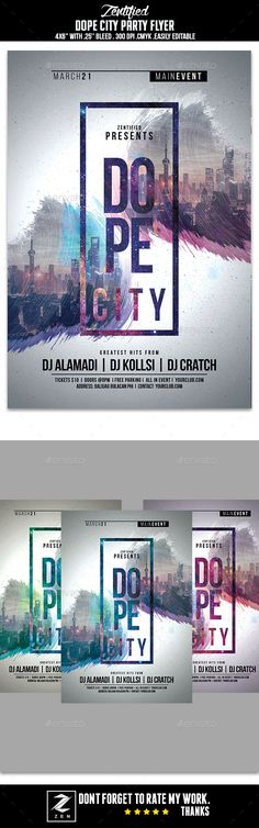 Dope City Party Flyer Template PSD. Download here: http://graphicriver.net/item/dope-city-party-flyer/16798679?ref=ksioks