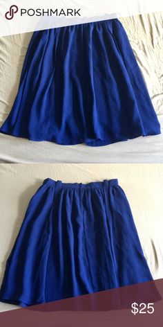 ASOS Curve royal blue midi skirt size 16 ASOS Curve royal blue midi skirt with pleats, zipper and button back closure, fully lined. No stretch please look at measurements. Worn a few times but in great condition.  Waist 34 Hips 48 Length 27 ASOS Curve Skirts Midi