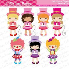 Baby Girl Circus clipart girls circus party by CeliaLauDesigns
