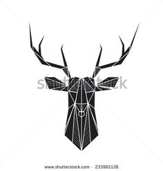 Vector hipster abstract geometric background with deer - stock vector