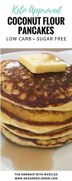 A big stack of warm keto pancakes with extra butter and maple syrup on top! This easy recipe makes fluffy coconut flour pancakes that are low carb, few ingredients and can fit into any keto meal plan! These are made with coconut flour, instead of almond flour, so they are nut free! #keto #pancakes #breakfastrecipes #ketorecipe #lowcarb #sugarfree