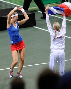 Lucie Safarova celebrating clinching Fed Cup