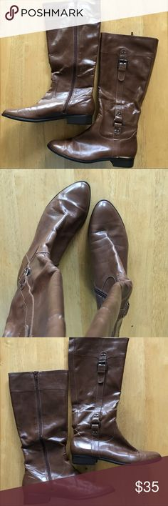 🔥👢 Alfani Brown Riding Boots Size 8 Knee High Alfani Riding Boots, Brown, Size 8M. In Good Condition With Normal Wear. Some Marking, See Photos. There Is A Price Of 39.99 On The Bottom, I Tried To Wash Off With Water But Didn't Come Off. Maybe Some Scrubbing Would Work? Bundle To Save Money. Feel Free To Make Me A Reasonable Offer. 🌻 *All Photos Taken In Natural Sunlight. Alfani Shoes