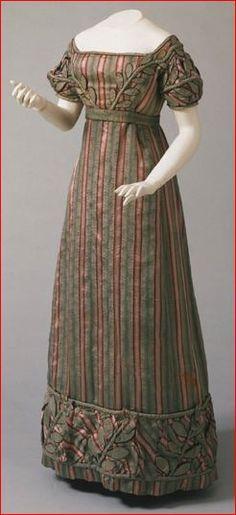 Striped Silk Plain-Weave Dress, American, c. 1823.