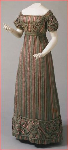 Striped Silk Plain-Weave Dress, American, c. 1823. *I absolutely love this dress! I would prefer a different color, but the style is gorgeous